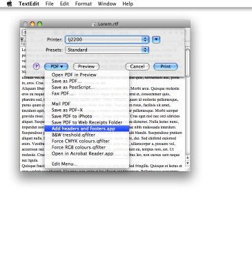 Add headers and footers to TextEdit